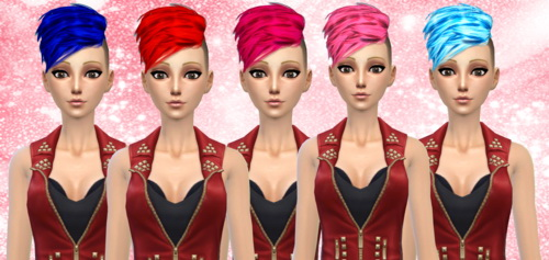 Darkiie Sims 4: Neissy's Half Hawk hairstyle in 15 colors for Sims 4