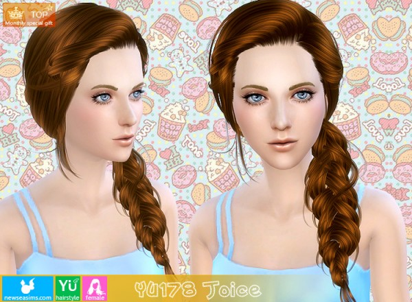 NewSea: Braided hairstyle YU 178 for Sims 4