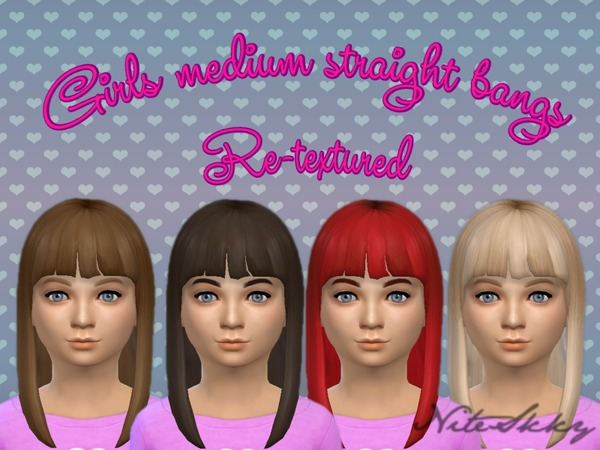 The Sims Resource: Girl medium Straight Hairstyle Bangs Retextured by NiteSkky for Sims 4
