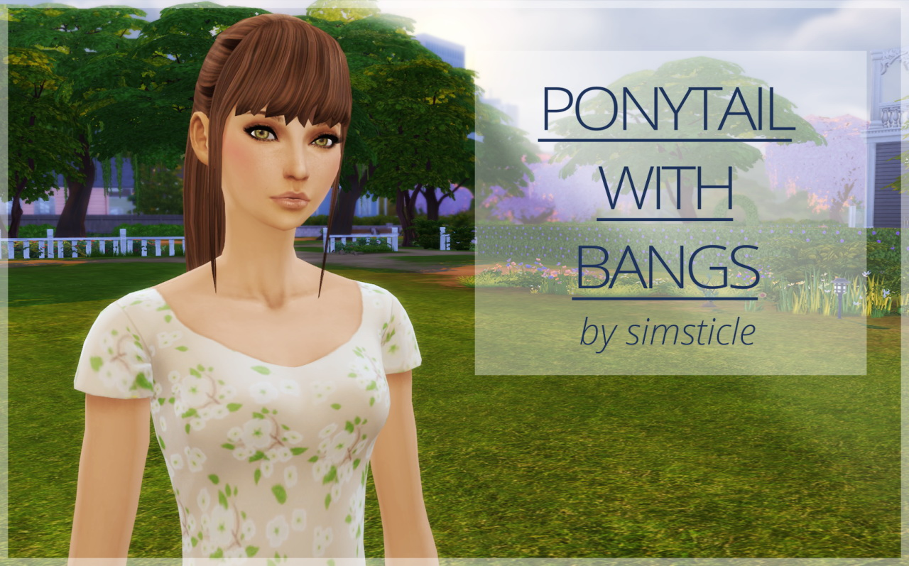 Simssticle Ponytail With Bangs Sims 4 Hairs
