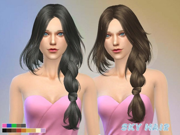 The Sims Resource: Light braid hairstyle 250 by Skysims for Sims 4