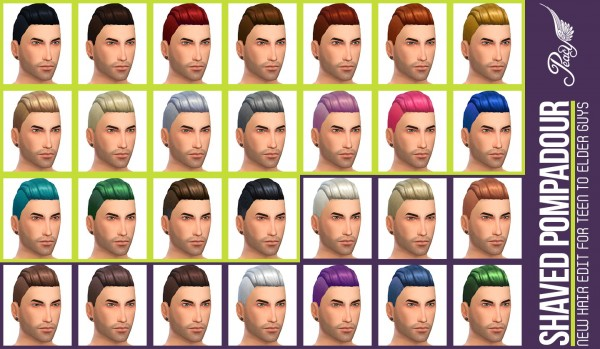 Simsational designs: Shaved Pompadour hairstyle for Sims 4