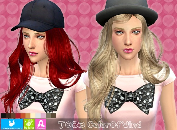 NewSea: J083 Color of Wind hairstyle for Sims 4