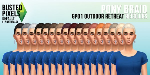 Busted Pixels: Pony braid hairstyle for Sims 4