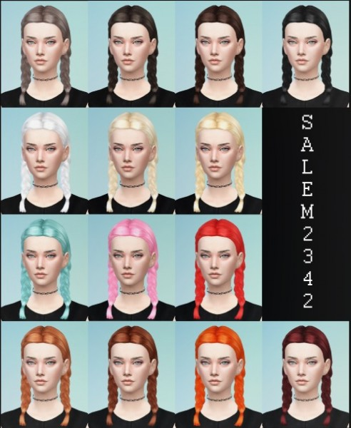 Salem2342: Pigtail braids hairstyle by Pickypikachu for Sims 4