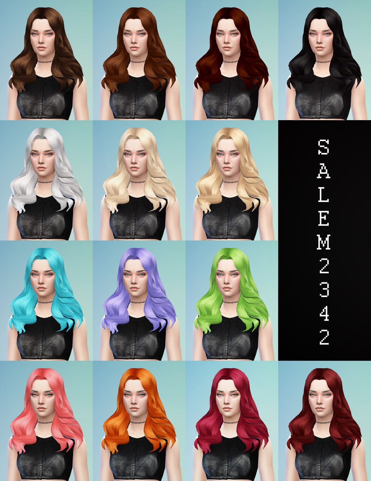 Sims 4 Hairs Salem2342 Middle Part Wavy Hairstyle