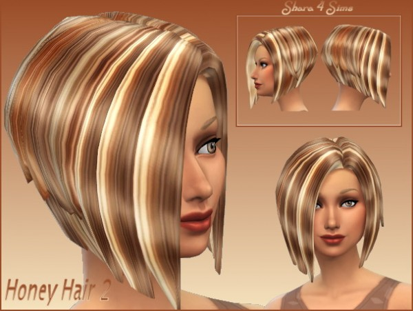 Shara 4 Sims: Honey Hairstyle 2 retextured for Sims 4