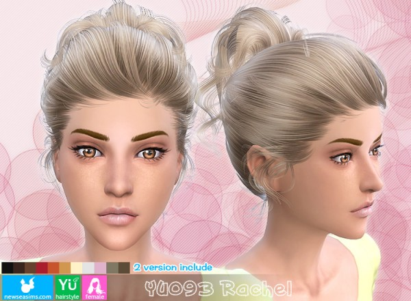 NewSea: YU093 Rachel high ponytail with bow hairstyle for Sims 4