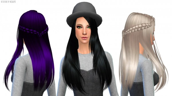 Nessa sims: ButterflySims 136 hairstyle retextured for Sims 4