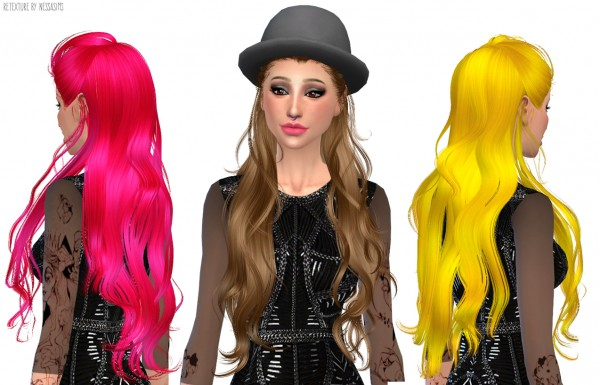 Nessa sims: Newsea`s Swallowtail hairstyle retextured for Sims 4