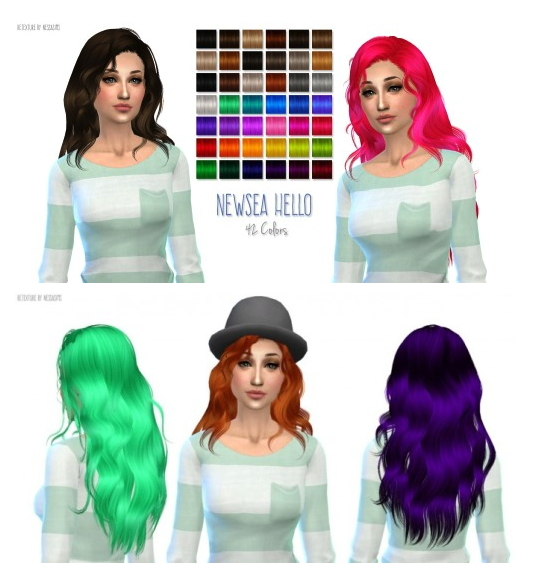 Nessa sims: Newsea`s Hello hairstyle retextured for Sims 4
