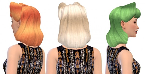 Nessa sims: Colores Urbanos Victory Rolls 01 hairstyle retextured for Sims 4