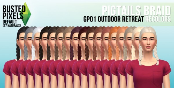 Busted Pixels: Pigtails braid hairstyle for Sims 4