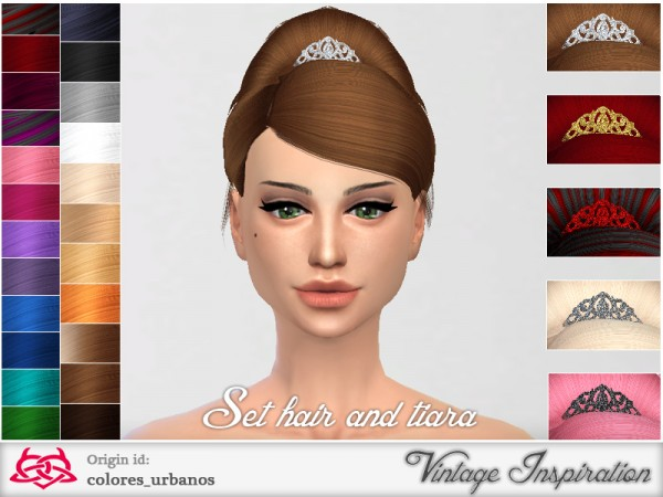 The Sims Resource: Retro hairstyle with tiara 02 by Colores Urbanos for Sims 4