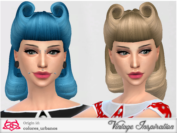 The Sims Resource: Victory Rolls 01 hairstyle by Colores Urbanos for Sims 4