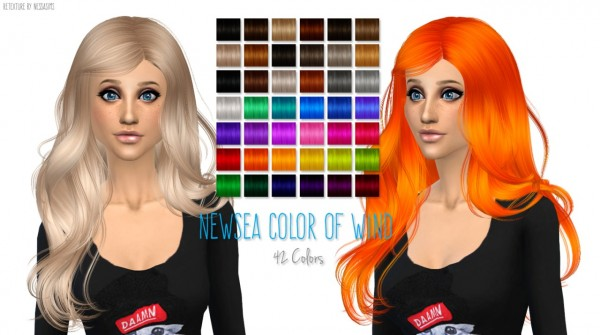 Nessa sims: Newsea`s Color Of Wind hairstyle retextured for Sims 4