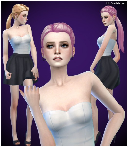 Simista: Braid Side Pony Hairstyle retextured for Sims 4