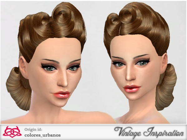 The Sims Resource: Victory Rolls hairstyle 02 by Colores Urbanos for Sims 4