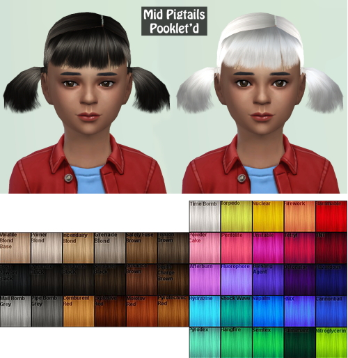 Annachibi`s Sims: Neissy's Mid Pigtails for girls for Sims 4