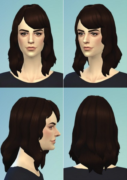 Rusty Nail: Medium Wavy hairstyle for Sims 4