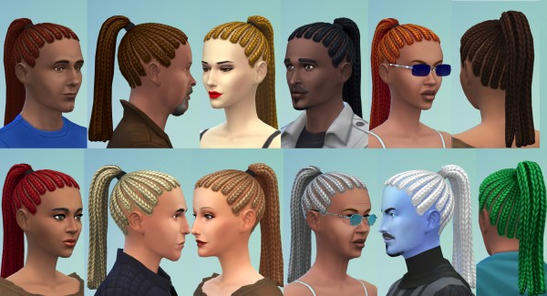 Mod The Sims: Ponytail Dreads by Esmeralda for Sims 4