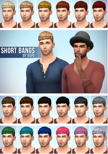 Simsontherope: Short bangs hairstyle for Sims 4