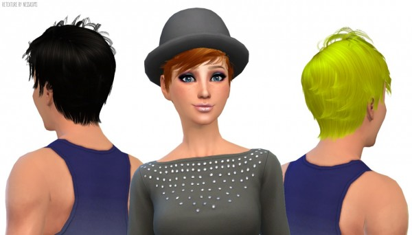 Nessa sims: Newsea`s Soledad hairstyle retextured for Sims 4