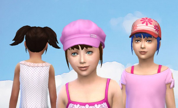 Mod The Sims: High Pigtails for girls by Kiara24 for Sims 4