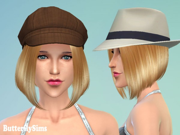 Butterflysims: Thin bob hairstyle 124 for Sims 4