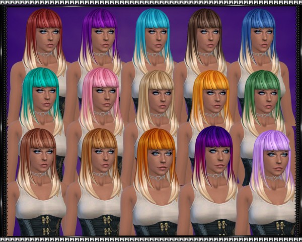 Mod The Sims: Color Vibe hairstyle with blonde tips by SrslySims for Sims 4