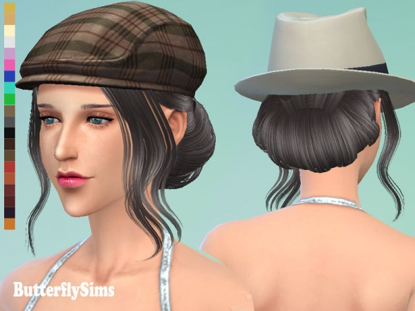 Butterflysims: French bun hairstyle 085 for Sims 4