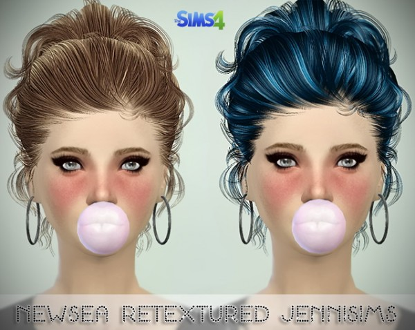 Jenni Sims: Newsea Color Of Wind Hair and Rachel, Isabel hairstyles retextured for Sims 4