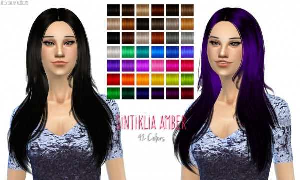 Nessa sims: Sintiklia Amber hairstyle retextured for Sims 4