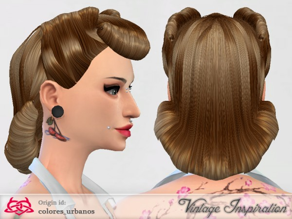 The Sims Resource: Victory Rolls 03 hairstle by Colores Urbanos for Sims 4