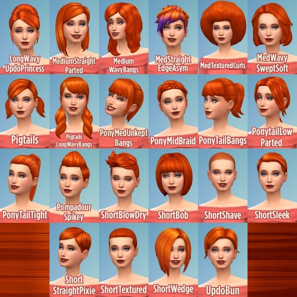 Mod The Sims: Ginger All The Hairstyle by Caitie for Sims 4