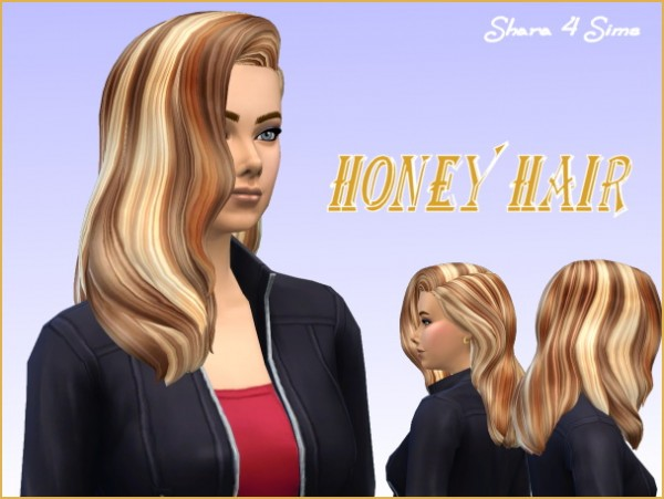 Shara 4 Sims: Honey Hairstyle for Sims 4