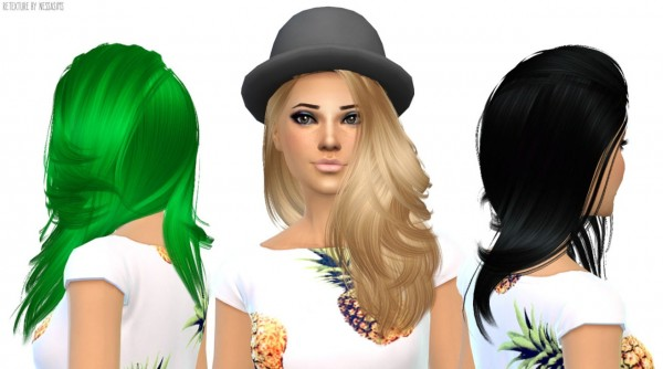 Nessa sims: Nightcrawler Da Bomb hairstyle retextured for Sims 4