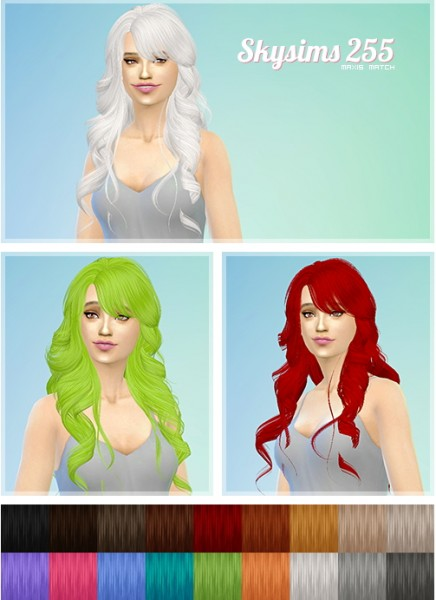 Ashley: Skysims 255 hairstyle retextured for Sims 4