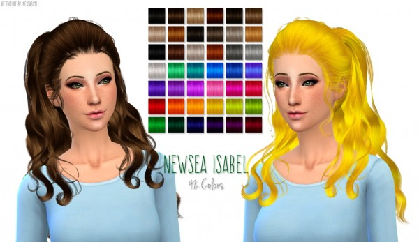 Nessa sims: Newsea`s Isabel hairstyle retextured for Sims 4