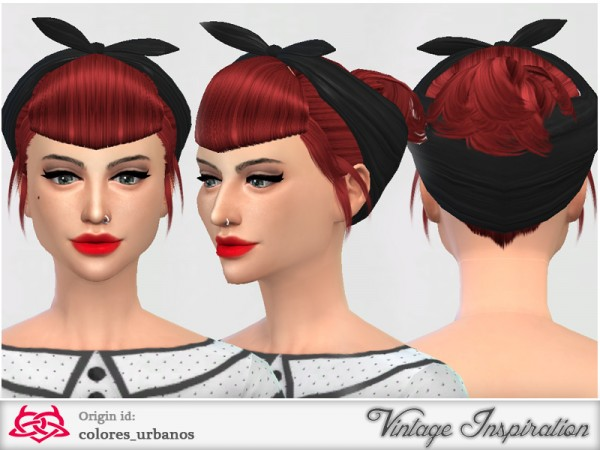 The Sims Resource: Set retro hairstyle and bandana for Sims 4