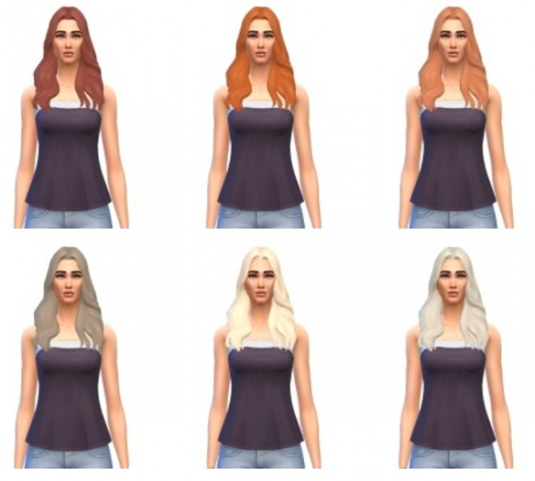 Busted Pixels: Long wavy parted hairstyle for Sims 4
