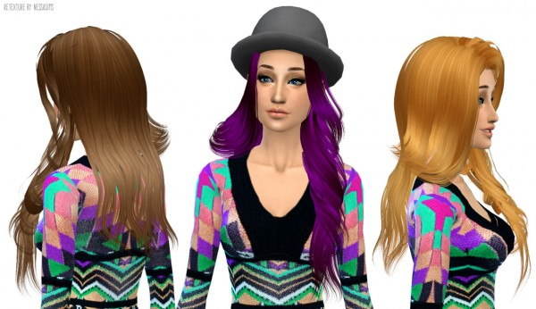 Nessa sims: Skysims 210 hairstyle retextured for Sims 4