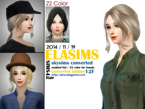 MAY Sims: Skysims hairstyle 12F converted by ELA for Sims 4