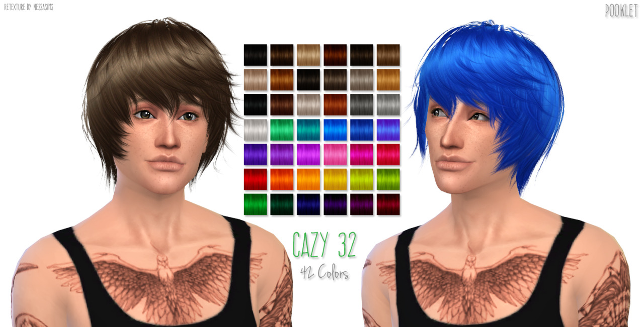 Sims 4 Hairs Nessa Sims Cazys 32 Hairstyle Retextured
