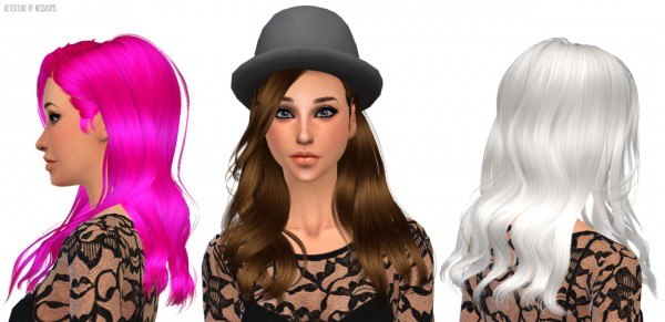 Nessa sims: Newsea`s Shaine hairstyle retextured for Sims 4