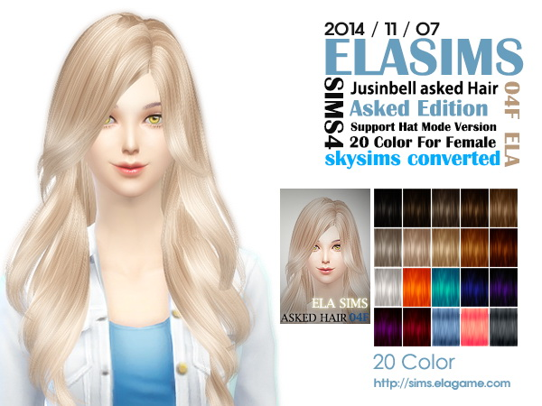 MAY Sims: Skysims Asked hairstyle 04F converted by ELA for Sims 4