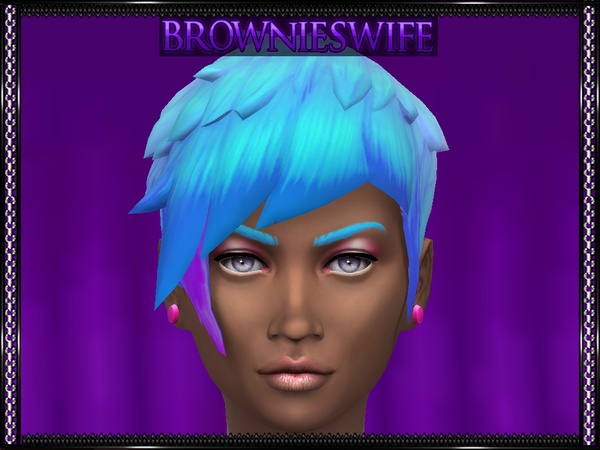 The Sims Resource: Med Straight Edge Asym Pastel Ombre by brownieswifesims for Sims 4