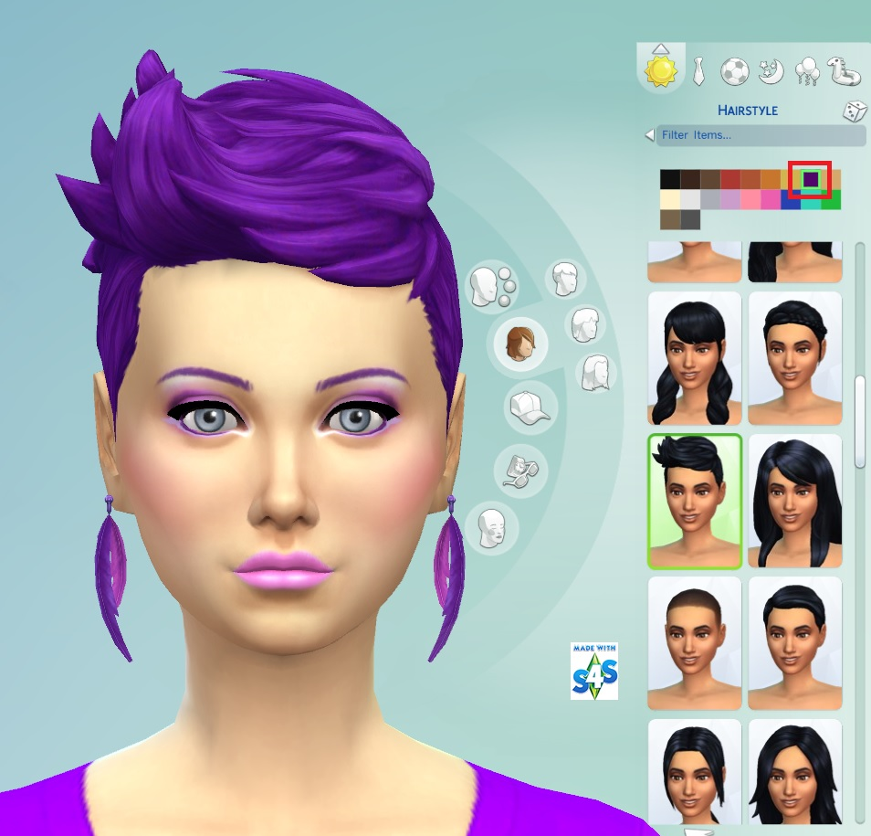 Sims 4 Hairstyles: Mod The Sims: Recoloured Purple Hairstyle