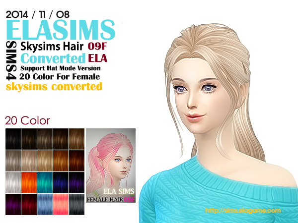 MAY Sims: Skysims hairstyle 09F converted by ELA for Sims 4