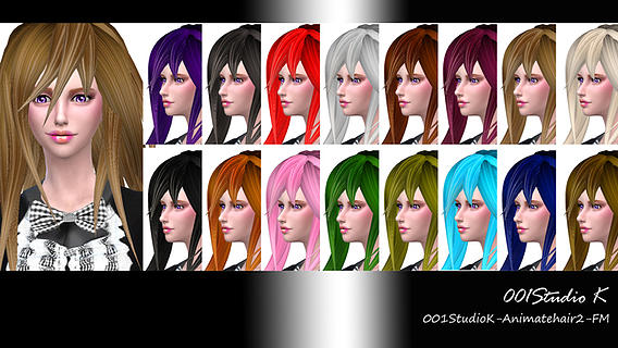 Studio K Creation: Animate hairstyle 2  18 Colors for Sims 4
